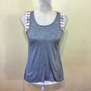 Altar'd State Gray Sleeveless Embroidered Top